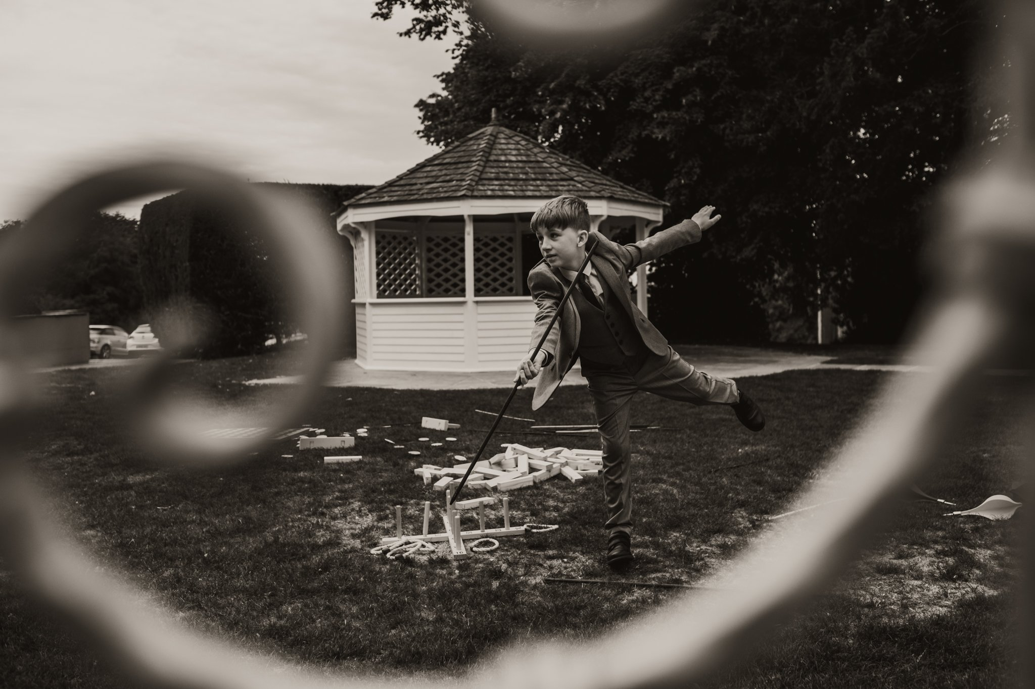child playing lawn games